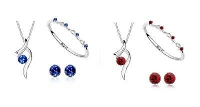 3 Piece Red / Royal Blue Austrian Crystal Jewellery Set No25 Necklace Bangle Ear
