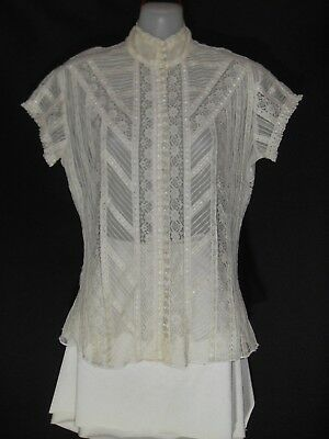 "1970's/80's Vintage Short Sleeved ""Edwardian Style"" Lace Blouse."