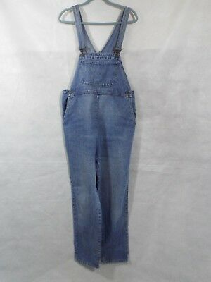 Maternity Dungarees Size 12 L29 Denim Overalls Light Blue Jumpsuit Overalls M