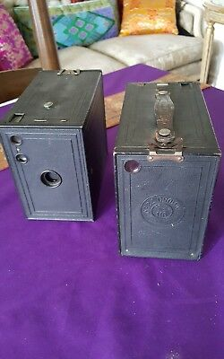 Kodak box brownie cameras pair