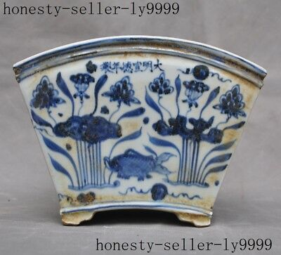 old Chinese Blue&white porcelain fish Water plants flower pot Bonsai Potted pots
