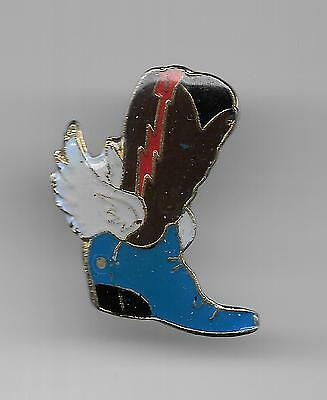 Vintage Winged Cowboy Boot red with brown b2 old enamel pin