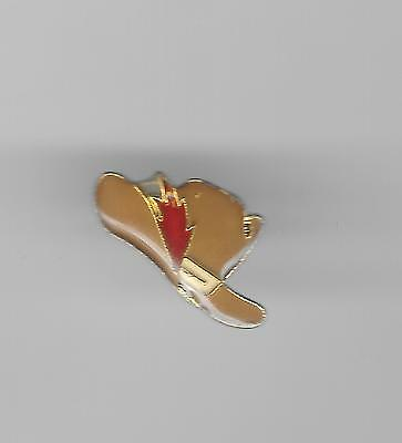 Vintage Cowboy Hat with a Red Feather old enamel lapel pin
