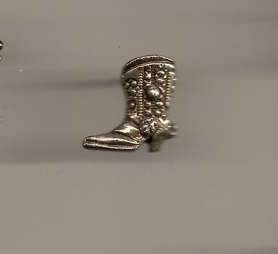 Vintage Fancy Tooled Cowboy Boot B Sculpted old metal lapel pin
