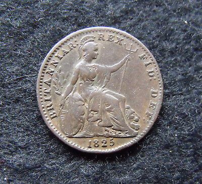 1825 George IV Copper Farthing Britiish Coins More pics in description.