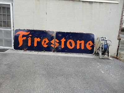 Vintage Porcelain 12 Foot X 3 Foot Firestone Tire Sign  Two Piece Pick Up Only