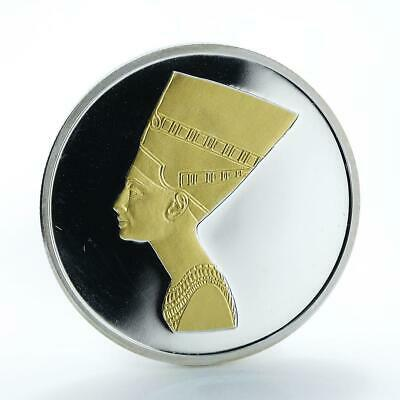 Cambodia 3000 riels Ancient Egyptian Queen Nefertiti silver gilded coin 2006