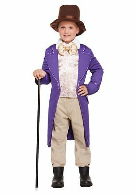 Child Chocolate Factory Costume Charlie Boys Willy Wonka Book Week Party Outfit