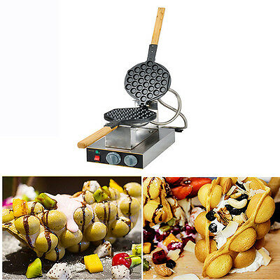 Stainless Steel Electric Egg cake oven QQ Egg Waffle Maker machine new 110V