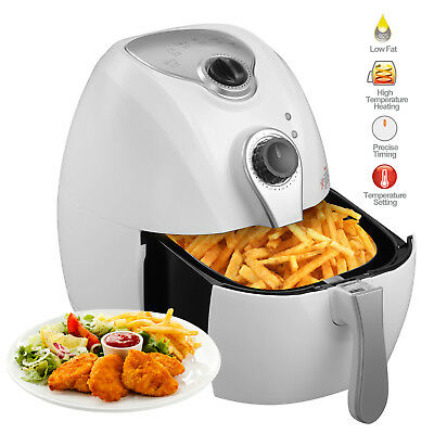 2.7L 1300W Electric No Oil Air Fryer Timer Temperature Control for Kitchen White