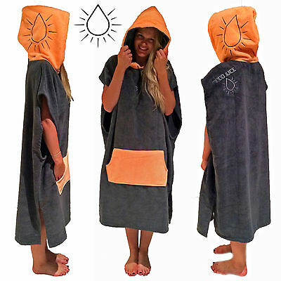 Poncho Towel - MOOD JUICE Peach  / Charcoal Hooded towel adult surf round towels