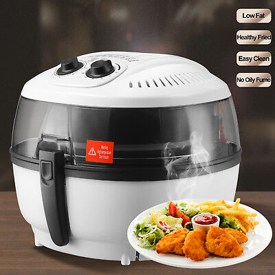 Electric Air Fryer Timer Temperature Cooking Oil-Less Griller Roaster 6QT White