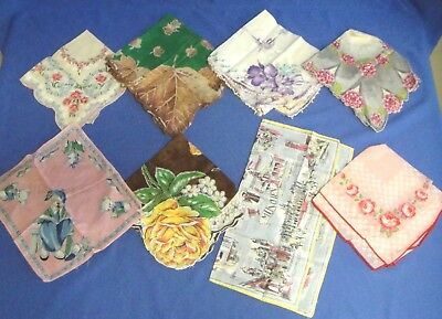 Lot of 8 Vintage Hankies Handkerchiefs Floral Pattern and Other