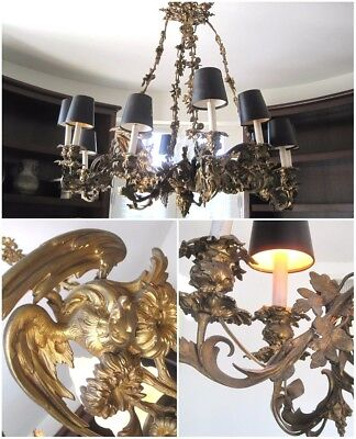 Large 3' Antique Vtg French Rococo Gilt Bronze Eagle 12 Arm Light Chandelier KD