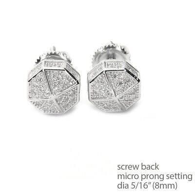 Men's Bling Icy Silver Plated Octagon Screw Back Stud Earrings SE 11622 S