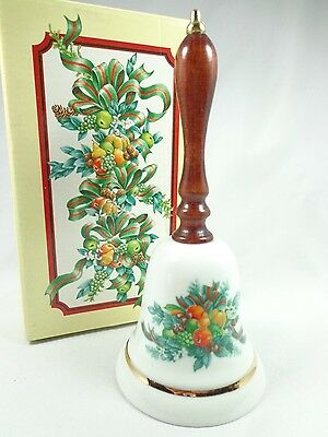 Vintage 1985 Avon porcelain christmas Bell fruit arrangement ribbon decor NWB