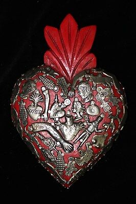 Sweet Red Sacred Heart wood Milagro covered Folk Art Michoacán Mexico Love Token