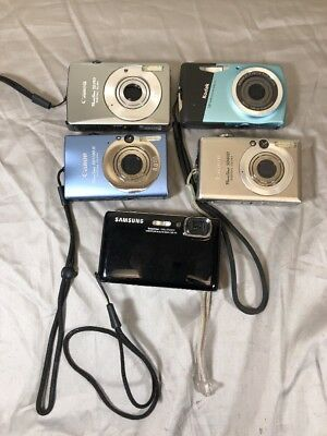 Lot Of 5 Digital Cameras Working For Parts Canon, Samsung & Kodak