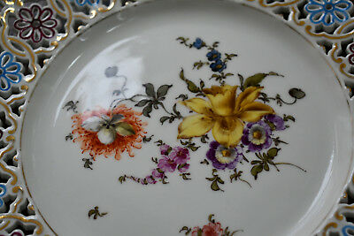 Meissen Austria hand painted flower reticulated plate with gold rim