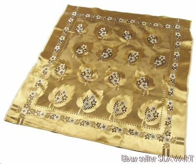 RARE European gold brocade scarf shawl folk costume Spain Italian Tyrol Croatia