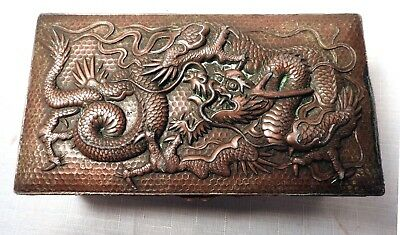 Antique Japanese Dragon Embossed Brass Box
