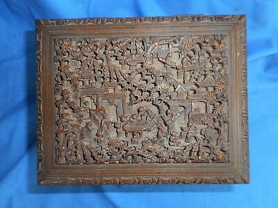 Vintage Old Hand Carved Japan Wood Box KANTEIBYO Temple?