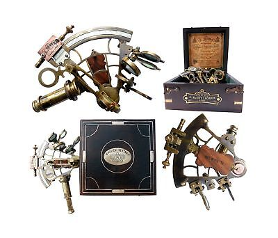 J. Scott London Brass Ship History Sextant with Hardwood Box. C-3082