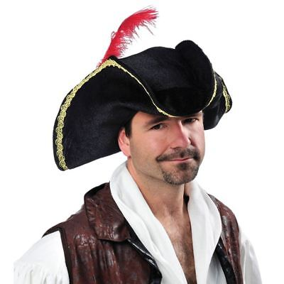 Adults Buccaneer Hook Caribbean Pirate Captain Hat Feather Fancy Dress Accessory