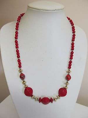 """Vintage Red & Gold Tone 24"""" Multi Bead Necklace"""