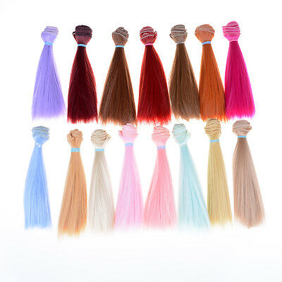15cm length high-temperature material natrual color thick bjd wigs doll hair FF