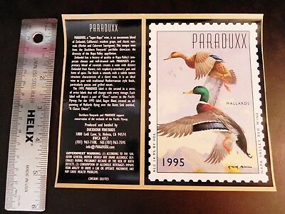 KGStamp PARADUXX 1995 Wine Label Duckhorn Vineyard St Helena Napa Valley Mallard