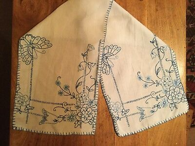 Vintage Hand Embroidered Blue FLORALS & BUTTERFLIES Long Table Topper /Runner