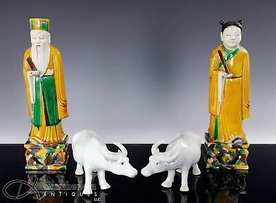 Group Of Antique Chinese Porcelain Statues Figurines Etc