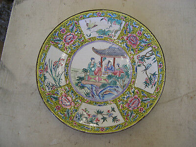 Antique Asian Chinese Style (19/20th Cent) Enamel over Copper Plate Flower Tea