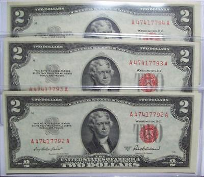 Set Of 3 ~1953-A TWO DOLLAR UNITED STATES NOTES Consecutive Serial  # ~CRISP Unc