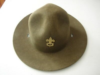 """Vintage Boy Scouts Of America Hat With """"be Prepared"""" Hat Pin Size 7 No Damage"""