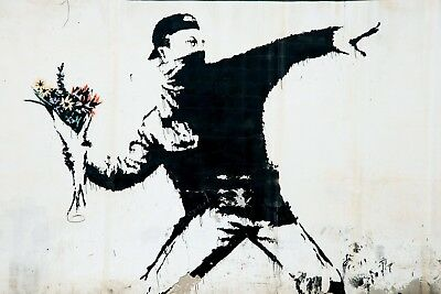 Banksy Framed Canvas Street  graffiti Urban  Art Print flower throw painting