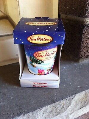 Tim Horton's Mini Ceramic Drink-In Christmas Coffee Cup Ornament 2013 In Box