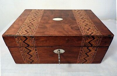 Antique French Inlaid Marquetry Mother of Pearl Box (Lockable)