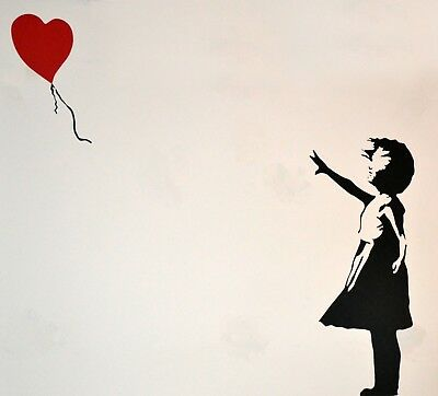 Banksy Framed Canvas Street  graffiti Urban  Art Print red balloon stencil