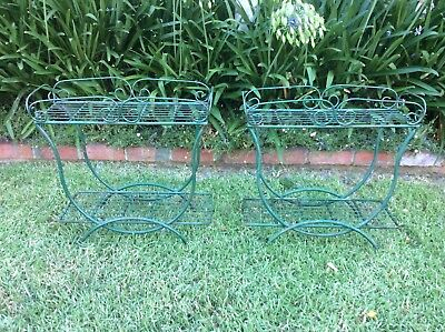 vintage POT PLANT STANDS pair of GREEN METAL STANDS pre-loved rustic