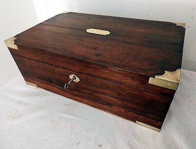 Large Antique Two Tier Mahogany Box Brass Fittings (Lockable)
