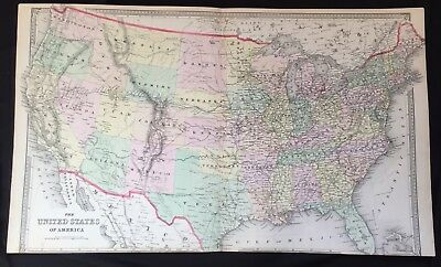 1873 rare hand color poster map of united states w oklahoma as indian territory