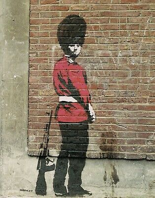 Banksy Framed Canvas Street  graffiti Urban  Art Print guardsman soldier uk