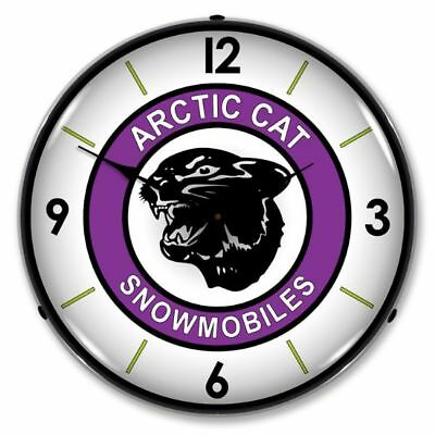 "14"" Double Bubble Artic Cat Snowmobiles Retro Backlit Garage Clock 71008"