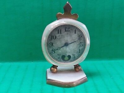 ANTIQUE DIDISHEIM GOLDSCHMIDT FILS & Co. MINIATURE PEARL TRAVEL CARRIAGE CLOCK