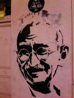 not Banksy Framed Canvas Street  graffiti Urban  Art Print Gandhi stencil