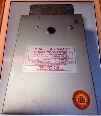 PHASE-A-MATIC PAM-200HD Phase Converter 3/4-1.5 HP