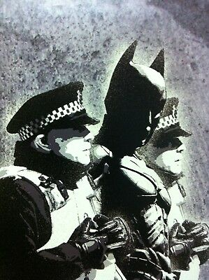 Banksy Framed Canvas Street  graffiti Urban  Art Print arrest Batman
