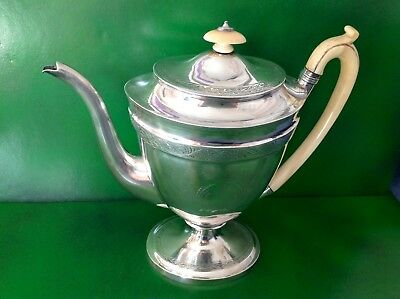 Elegant Georgian Antique English Sterling Silver Coffee Pot John Emes 1801